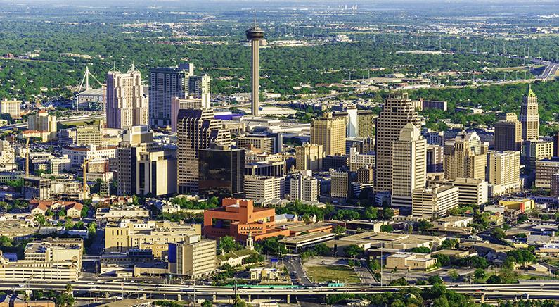 View of San Antonio city skyline from above